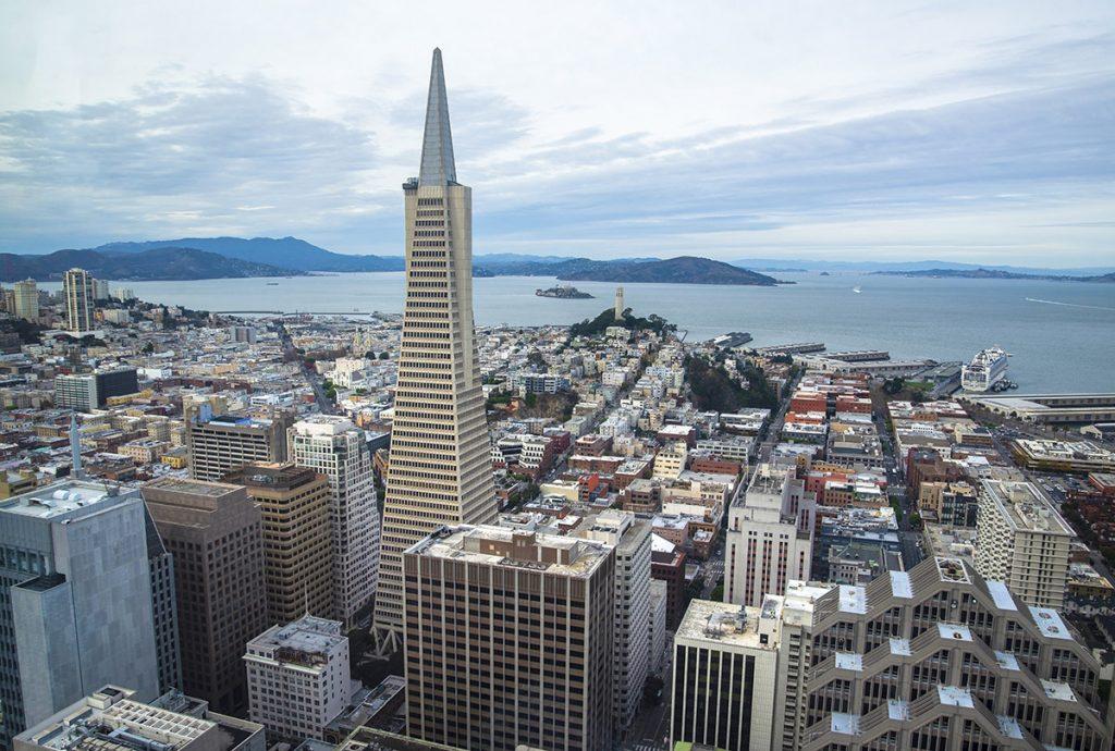 Transamerica Pyramid aerial view of San Francisco