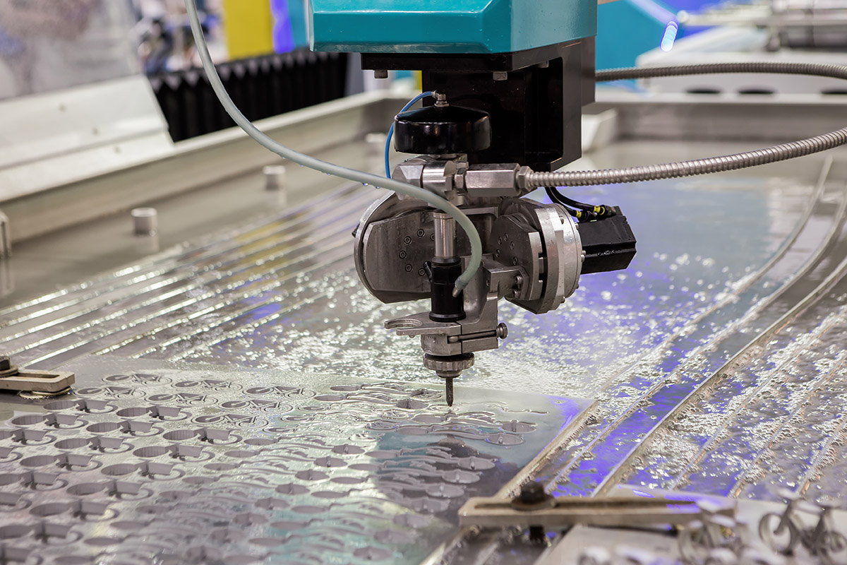 water jet cutting CNC machine at work